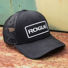 Classic Rogue trucker hat with Rogue Patch logo. One size fits all. Get more details or order your Rogue hat at RogueFitness.com.