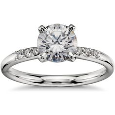 Blue Nile 1 Carat Preset Petite Diamond Engagement Ring ($6,700) ❤ liked on Polyvore featuring jewelry, rings, accessories, wedding ring, wedding, clear rings, diamond wedding rings, wedding band rings, round wedding rings and engagement rings