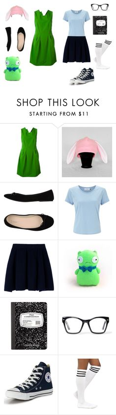 """""""Louise and Tina Belcher costume"""" by vmcomito on Polyvore featuring Lanvin, Bagatt, John Lewis, Maison Kitsuné, Mead, Spitfire, Converse and BOB"""