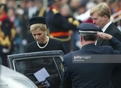 Dutch Crown Prince Willem Alexander and Princess Maxima leave after the funeral ceremony of Prince Claus of the Netherlands at the Nieuwe Kerk church October 15, 2002 in Delft, Netherlands. Prince Claus died October 6, 2002 after a long battle with Parkinson's disease and pneumonia.