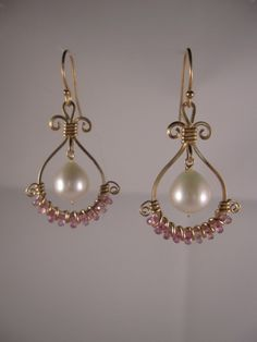 Sapphire Pearl and Gold Earrings