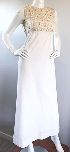 34cbcf82a4d 1960s Jack Bryan Ivory And White Crochet Lace Beaded Vintage Maxi Dress    Gown