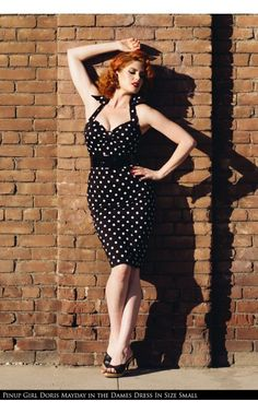 Deadly Dames - Deadly Dames Wiggle Dress in Black with White Polka Dots | Pinup Girl Clothing