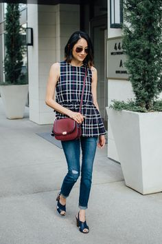 Plaid peplum top & s