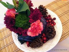 """DIY """"Table of Plenty"""" Thanksgiving Tablescape Centerpiece. Turn purple cabbage into a flower vase."""