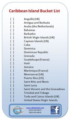 Here's a handy little tool for making sure you don't miss any of the Caribbean Island as you plan your next #Vacation or perhaps a #Honeymoon!    A #Caribbean #Island #Bucketlist / #Checklist.