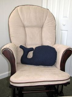 Nautical Whale Nursery Pillow Stuffed Children's Toy in Navy and White on Etsy, $25.00