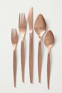 Mix metals on your holiday table with this copper flatware from Anthropologie.