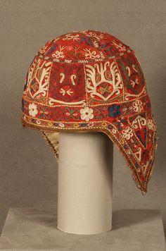 Woman's Cap mid 19th century Wool, Silk; Plain Weave, Embroidered Dimensions: 28.6 cm Turkmen, Chodor Tribe