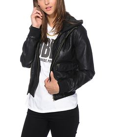 Faux Leather Bomber Jacket Womens 1yYkNd