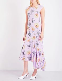 TOPSHOP - Unique floral-print silk dress | Selfridges.com Silk Dress, Peplum Dress, Topshop Boutique, Pleated Skirt, Floral Prints, Feminine, Summer Dresses, Style, June