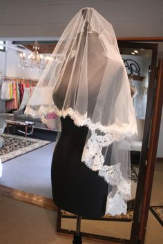 Lace veil - Alencon lace Ivory 2 Tier Wedding Veil  by NicoleMaeLaceVeils…