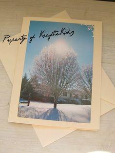 Blank Photo Card Beautiful Winter Scene Christmas by KraftieKidz, $3.50