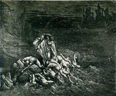 Inferno: Wrathful trying to emerge from the River Styx. Creator: Doré, Gustave Date: c.1868