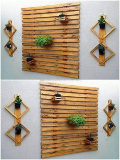 Let's give your walls an extraordinary appearance by decorating them with these wooden pallets wall decor art. The beautiful arrangement of useless wooden pallets and the smart attachment of small pots with fresh grass and plants seems wonderful as shown in the picture given below.