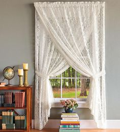 lace curtains | Semi-Sheer Lace And Crochet Curtains, Valance And Cascade Valance ...