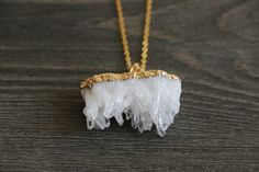 Gold Coated White crystal geode Raw Necklaces - Natural Stone Gemstone Pendant Rough Druzy Crystal Colourful unique, rustic