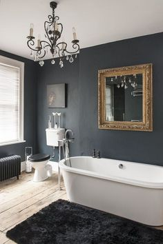 Get Inspired with 20 Luxury Black and White Bathroom Design Ideas - Very Amazing! - Best Home Ideas and Inspiration Beautiful black walls contrast with white bathroom fixtures Grey Bathroom Cabinets, Dark Gray Bathroom, Dark Bathrooms, Beautiful Bathrooms, Gold Bathroom, Bathroom Modern, Small Bathroom, Bathroom Spa, Charcoal Bathroom