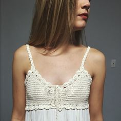 Cream Crochet Hippie-Style Dress Brand New (Without Tags) Still haven't worn it! Wearable without bra - I'm 5'6 and it goes right to my knees Dresses Midi