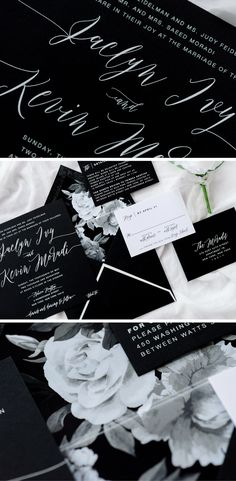 Striking and sweet, this black and white floral invitation is a matte thermography suite ideal for a formal black tie wedding.