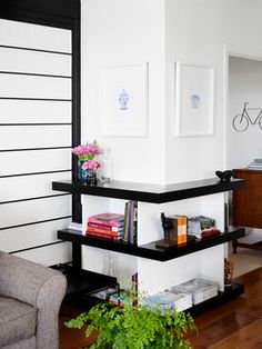 New Farm Apartment transitional-Inspirational idea! L shaped shelving to create more functional space.