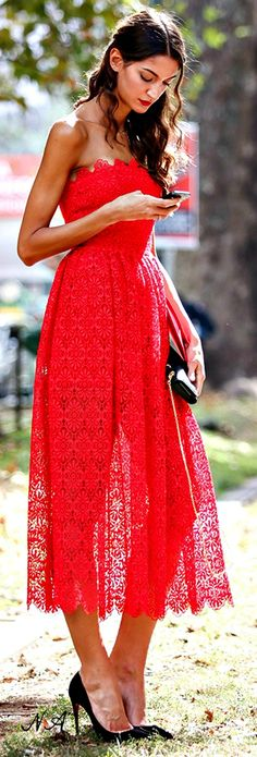 Red lace midi.