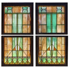 Circa 1910 Four Prairie or Arts & Crafts Leaded Windows | From a unique collection of antique and modern windows at http://www.1stdibs.com/furniture/building-garden/windows/