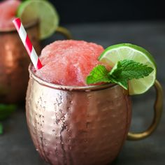 Frozen Watermelon Moscow Mule - Simply Whisked Frozen Cocktails, Fun Cocktails, Summer Drinks, Fun Drinks, Alcoholic Drinks, Summer Food, Party Drinks, Cocktail Drinks, Cold Drinks