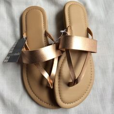 New Gold Faux Leather Sandals Brand new with tags. Available in sizes 6 & 7. Priced at my lowest. Shoes Sandals