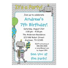 3 Retro Robot Birthday Invitations for an Out of this World Kids Party with ideas for robot-themed cakes and party supplies.  Everything you need to throw a fun robot birthday party for your child or someone who just loves corny robots. - Retro Invites