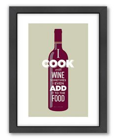This 'I Cook With Wine' Wall Art is perfect! #zulilyfinds