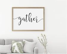 Gather Printable Dining Room Sign Gather Wall Decor Rustic | Etsy Affordable Wall Art, Rustic Wall Decor, Room Signs, Dining Room, Printables, Cool Stuff, Etsy, Home Decor, Decoration Home