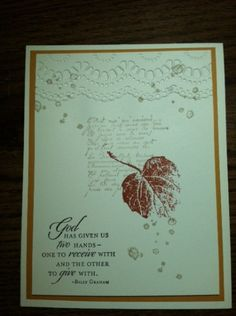 Easy card using Very Vanilla, More Mustard cardstock; Cajun Craze, Crumb Cake and Early Espresso ink; Delicate Delights embossing folder; Trust God and French Foliage stamp sets.