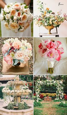 Wedding Flowers Garden Rose Bouquet Smp Natural Ruffled Colored Arrangement S Pink Peony Fountain Of