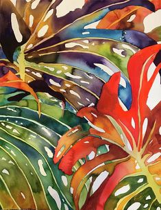 Pin by pratibha garewal on floral watercolor paintings in 20 Watercolor Leaves, Watercolor Flowers, Watercolor Paintings, Watercolour, Silk Painting, Painting & Drawing, Tropical Art, Tropical Leaves, Arte Floral