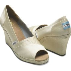TOMS Shoes Canvas Wedge Ivory Grossgrain Women 12 ($80) ❤ liked on Polyvore