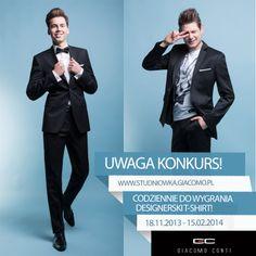 Wielka promocja w salonie GIACOMO CONTI! Garnitury na studniówkę od 599zł + koszula i krawat po złotówce, a dodatkowo konkurs, gdzie codziennie do wygrania markowy designerski T-shirt  szczegóły: http://studniowka.giacomo.pl/