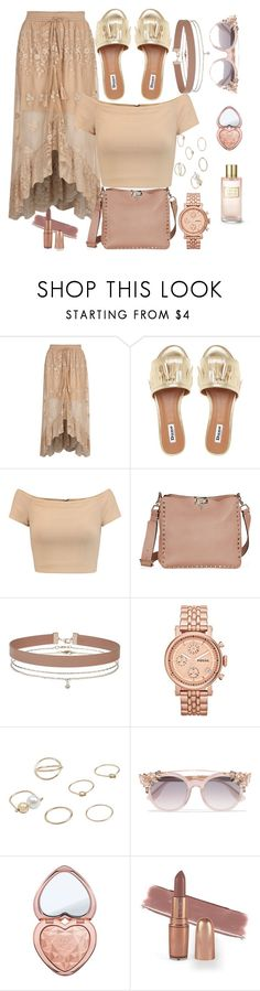"""Untitled #298"" by sevncblt ❤ liked on Polyvore featuring River Island, Alice + Olivia, Miss Selfridge, FOSSIL, MANGO, Jimmy Choo, Too Faced Cosmetics and Estée Lauder"