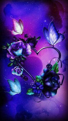 By Artist Unknown. Purple Butterfly Wallpaper, Purple Flowers Wallpaper, Butterfly Wallpaper Iphone, Flower Background Wallpaper, Beautiful Flowers Wallpapers, Beautiful Nature Wallpaper, Heart Wallpaper, Butterfly Art, Cellphone Wallpaper
