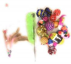 20 Piece Cat Kitty Toys Set with Feather Wand - Assorted Colors