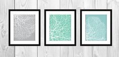 Modern Coral Art Prints Set of 3 8x10 by CleverPrintables on Etsy, $15.00