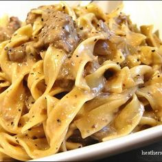 Easy enough Slow Cooker Beef Stroganoff I actually made this and it was delicious!! I added mushrooms and I wish I added Dijon just for a little acidity