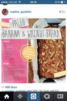 Sophie Guidolin's recipe for paleo banana and walnut bread.