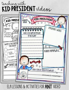 Kid President video response page-If you're not already using Kid President videos in your classroom, you should! Kids love them! The opportunities for teaching theme, purpose, figurative language, writing dialogue, and especially for building classroom community and promoting kindness are endless! Use this video companion resource with any Kid President video. Perfect for 1st, 2nd, and 3rd grade students!