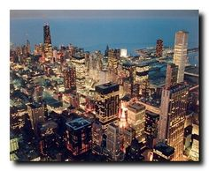 This beautiful Chicago skyline nightscape city picture poster will surely help to add instant style to any room in your home. This poster depicts the image of wonderful Chicago skyline nightscape picture when the sky was dark except for the full moon and the ambient light from all the buildings will surely catch the attention of your guests. This gorgeous poster brings you many compliments from your guests.