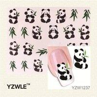 YZWLE 1 Sheet New Design 3D Water Transfer Printing Nail Art Sticker Decals Cute Panda DIY Nail Decoration Styling Tools
