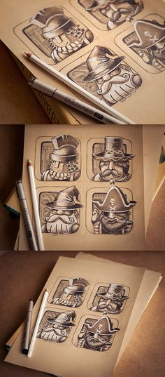 Icons collection | 2012-2013 by Mike , via Behance (basis for an art assignment? great example for shading using black/grey/white)