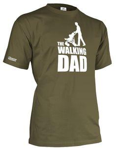 The walking Dad - Geburt - WEISS - HERREN - T-SHIRT in Army by Jayess Gr. L
