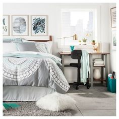 Bedroom, guest bedroom, kids room, girls room, gray comforter, wall art, office, chair, desk, gray rug, gray and blue, teal, modern, clean Framed Watercolor Blue, teen room, master bedroom. apartment decor, home decor, diy decor, target #afflink