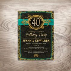 Gold Damask Adult Birthday Invitation / by PartyInkStudio on Etsy, $11.00